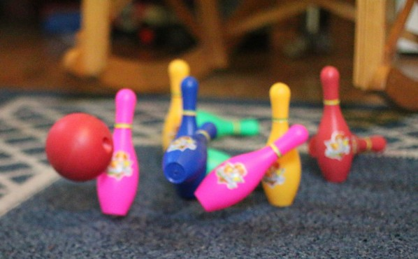 using bowling to practice regrouping 10 for homeschool math